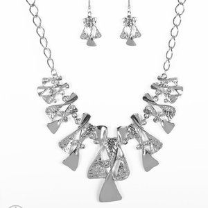 Metal Necklace with Matching Earrings